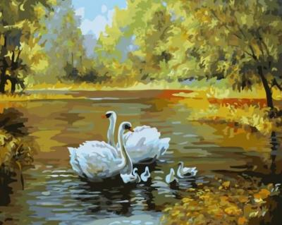 "Картина по номерам ""Пара лебедей"" 40*50 см"