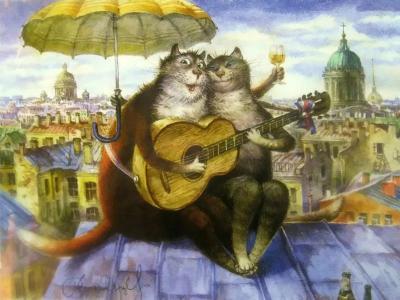 "Картина по номерам ""Коты на крыше"" 40*50 см"