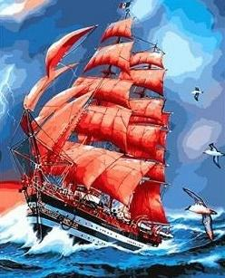 "Картина по номерам ""Парусник в море"" 40*50 см"