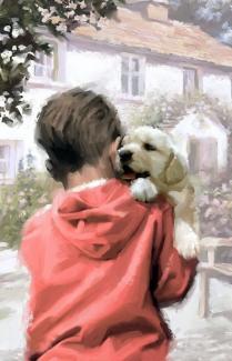 """Картины по номерам """"Пес и мальчик"""" 40*50 см"""