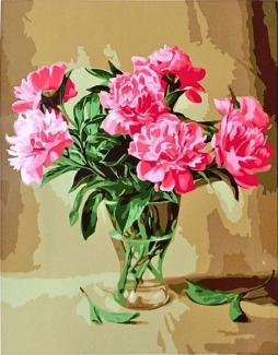 """Картина по номерам """"Пионы в стеклянной вазе"""" 30*40 см"""