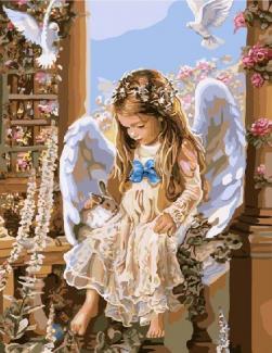 """Картина по номерам """"Ангелок с кроликом"""" 40*50 см"""