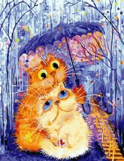 "Картина по номерам ""Кот и кошка под зонтом"" 40*50 см"