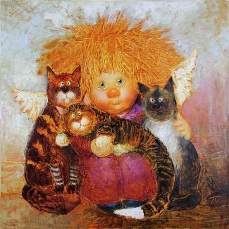 """Картина по номерам """"Рыжий ангелок и три кота"""" 40*50 см"""