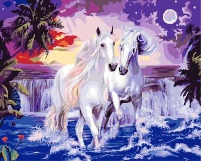 """Картина по номерам """"Две белых лошади"""" 40*50 см"""