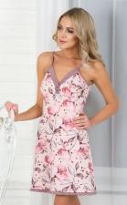 """Ночная сорочка """"Цветы розовые с коричневым на персиковом"""""""