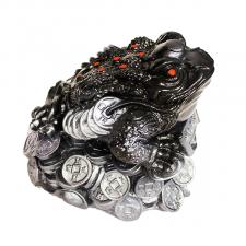 Копилка Жаба на монетах черная с серебром.